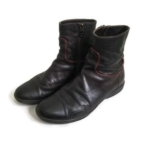 PRADA Milano boots ankle brown leather red trim sport sz IT 35